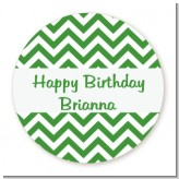 Chevron Green - Round Personalized Birthday Party Sticker Labels