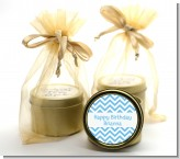 Chevron Light Blue - Birthday Party Gold Tin Candle Favors