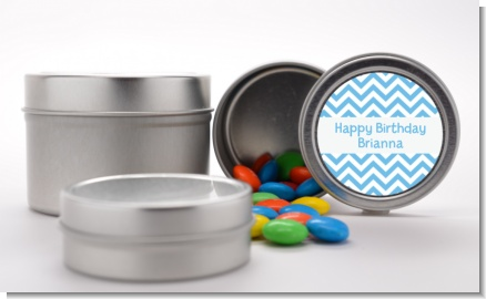 Chevron Light Blue - Custom Birthday Party Favor Tins