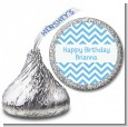 Chevron Light Blue - Hershey Kiss Birthday Party Sticker Labels thumbnail