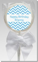 Chevron Light Blue - Personalized Birthday Party Lollipop Favors