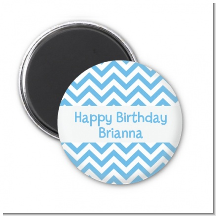Chevron Light Blue - Personalized Birthday Party Magnet Favors