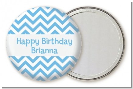 Chevron Light Blue - Personalized Birthday Party Pocket Mirror Favors