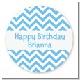 Chevron Light Blue - Round Personalized Birthday Party Sticker Labels thumbnail