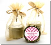 Chevron Pink - Birthday Party Gold Tin Candle Favors