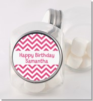 Chevron Pink - Personalized Birthday Party Candy Jar
