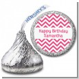 Chevron Pink - Hershey Kiss Birthday Party Sticker Labels thumbnail