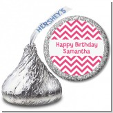 Chevron Pink - Hershey Kiss Birthday Party Sticker Labels