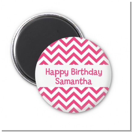 Chevron Pink - Personalized Birthday Party Magnet Favors