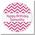 Chevron Pink - Round Personalized Birthday Party Sticker Labels thumbnail