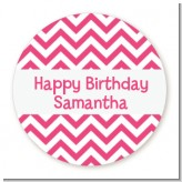 Chevron Pink - Round Personalized Birthday Party Sticker Labels