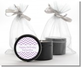 Chevron Purple - Birthday Party Black Candle Tin Favors