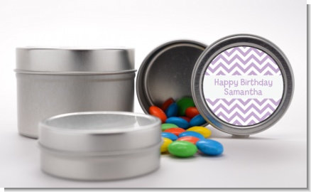 Chevron Purple - Custom Birthday Party Favor Tins