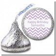 Chevron Purple - Hershey Kiss Birthday Party Sticker Labels thumbnail