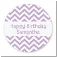 Chevron Purple - Round Personalized Birthday Party Sticker Labels thumbnail