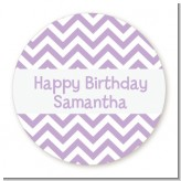 Chevron Purple - Round Personalized Birthday Party Sticker Labels