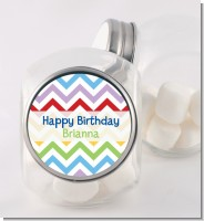 Chevron Rainbow - Personalized Birthday Party Candy Jar