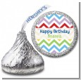 Chevron Rainbow - Hershey Kiss Birthday Party Sticker Labels thumbnail