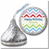 Chevron Rainbow - Hershey Kiss Birthday Party Sticker Labels