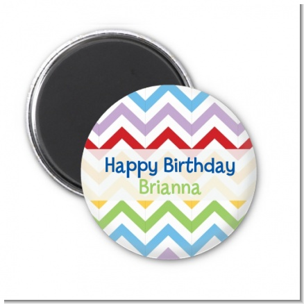 Chevron Rainbow - Personalized Birthday Party Magnet Favors
