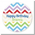 Chevron Rainbow - Round Personalized Birthday Party Sticker Labels thumbnail