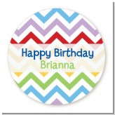 Chevron Rainbow - Round Personalized Birthday Party Sticker Labels