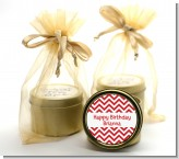 Chevron Red - Birthday Party Gold Tin Candle Favors
