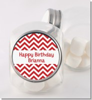 Chevron Red - Personalized Birthday Party Candy Jar