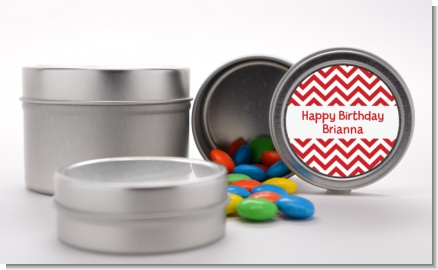 Chevron Red - Custom Birthday Party Favor Tins