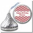 Chevron Red - Hershey Kiss Birthday Party Sticker Labels thumbnail