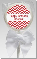 Chevron Red - Personalized Birthday Party Lollipop Favors