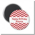 Chevron Red - Personalized Birthday Party Magnet Favors thumbnail