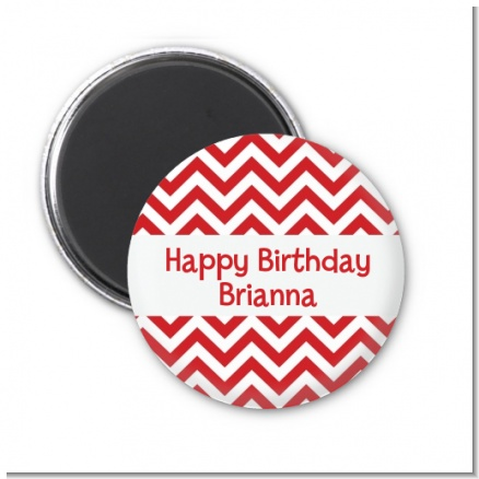 Chevron Red - Personalized Birthday Party Magnet Favors