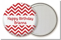 Chevron Red - Personalized Birthday Party Pocket Mirror Favors