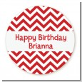 Chevron Red - Round Personalized Birthday Party Sticker Labels thumbnail
