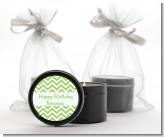 Chevron Sage Green - Birthday Party Black Candle Tin Favors