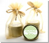 Chevron Sage Green - Birthday Party Gold Tin Candle Favors
