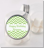Chevron Sage Green - Personalized Birthday Party Candy Jar