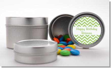 Chevron Sage Green - Custom Birthday Party Favor Tins