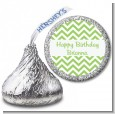 Chevron Sage Green - Hershey Kiss Birthday Party Sticker Labels thumbnail