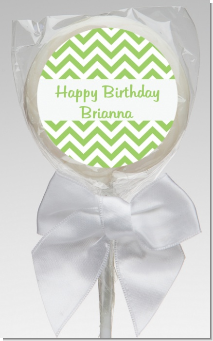 Chevron Sage Green - Personalized Birthday Party Lollipop Favors
