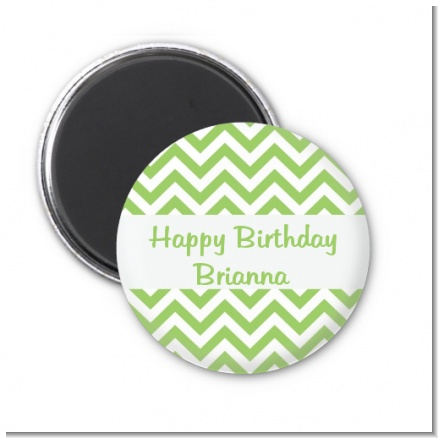 Chevron Sage Green - Personalized Birthday Party Magnet Favors