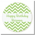 Chevron Sage Green - Round Personalized Birthday Party Sticker Labels thumbnail
