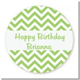 Chevron Sage Green - Round Personalized Birthday Party Sticker Labels