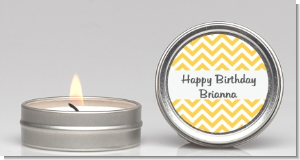 Chevron Yellow - Birthday Party Candle Favors