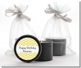 Chevron Yellow - Birthday Party Black Candle Tin Favors