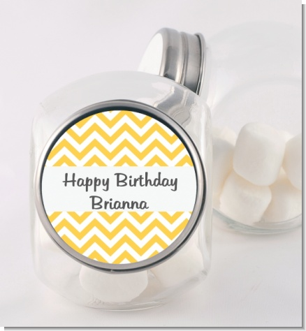 Chevron Yellow - Personalized Birthday Party Candy Jar