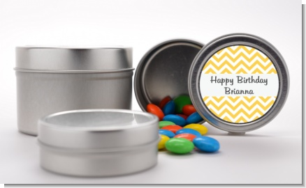 Chevron Yellow - Custom Birthday Party Favor Tins