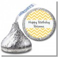 Chevron Yellow - Hershey Kiss Birthday Party Sticker Labels thumbnail