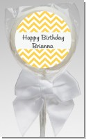 Chevron Yellow - Personalized Birthday Party Lollipop Favors